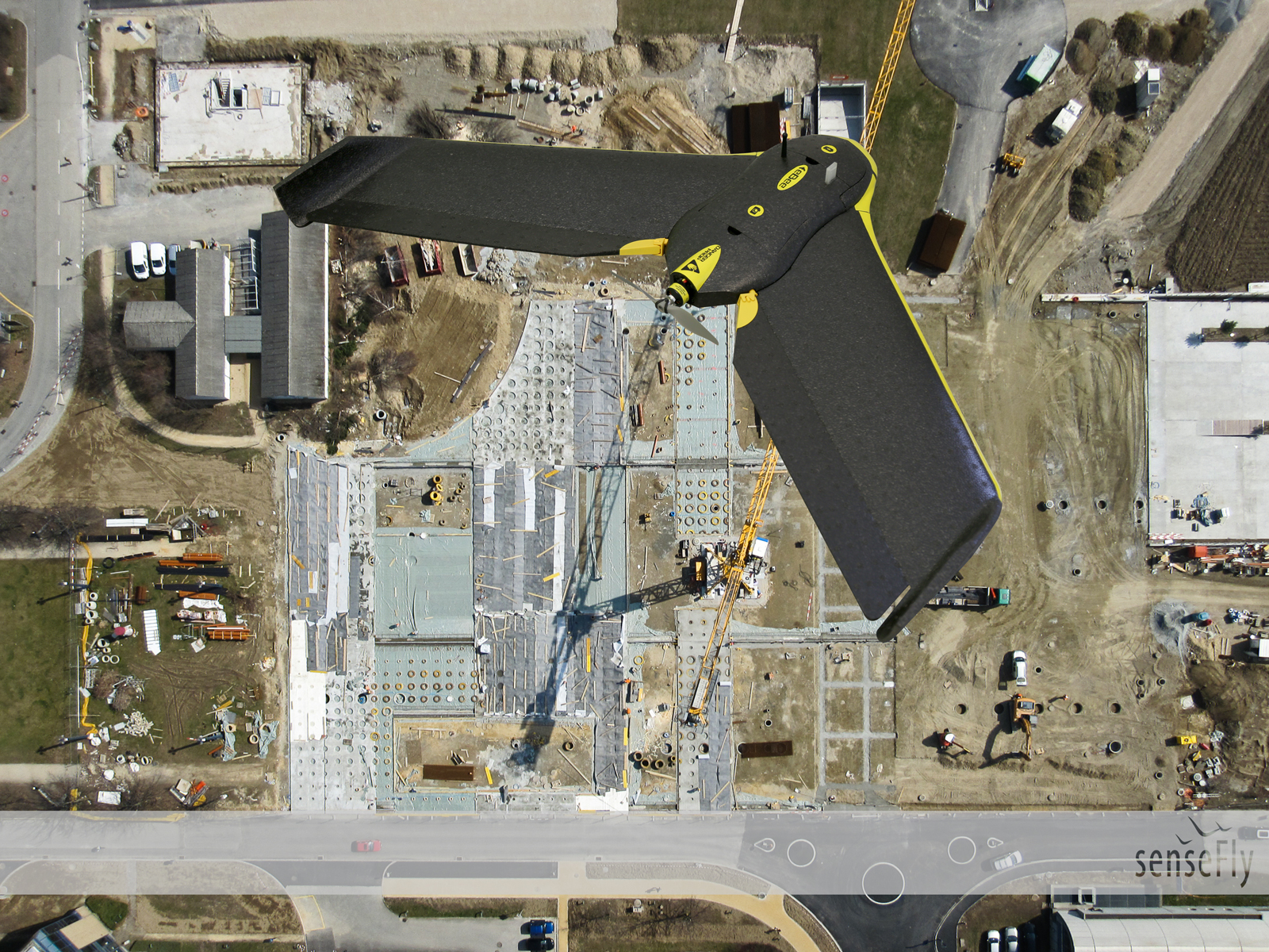 sensefly drone over construction site